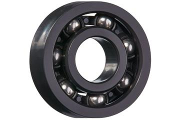 xiros® radial ball bearings, xirodur F180, stainless steel balls, cage made of PA, mm