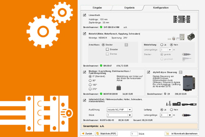 Configurator for drive technology with motor